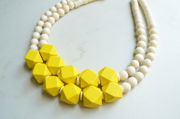 White Yellow Statement Necklace, Wood Bead Necklace, Chunky Multi Strand Necklace - Riley