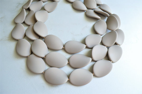 Beige Statement Necklace Rubber Bead Necklace Chunky Necklace - Morgan