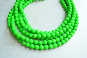 Neon Green Statement Necklace, Rubber Beaded Necklace, Chunky Necklace, Gift For Her - Alana