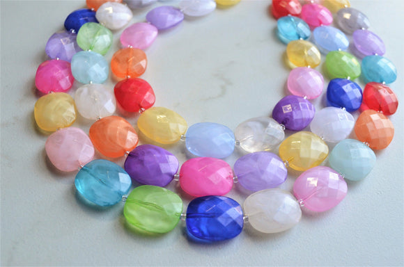 Multi Color Acrylic Bead Colorful Lucite Statement Necklace - Jane