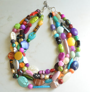 Multi Color Statement Necklace, Acrylic Necklace, Chunky Lucite Necklace - Barbara