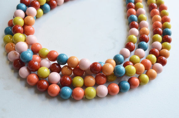 Multi Color Acrylic Bead Chunky Multi Strand Statement Necklace - Alana