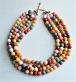 Multi Color Statement Necklace, Acrylic Bead Necklace, Chunky Necklace - Alana