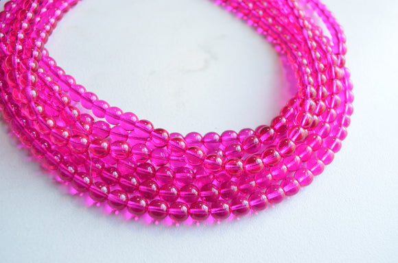 Hot Pink Statement Necklace, Bead Chunky Necklace, Glass Necklace, Gift For Her - Michelle