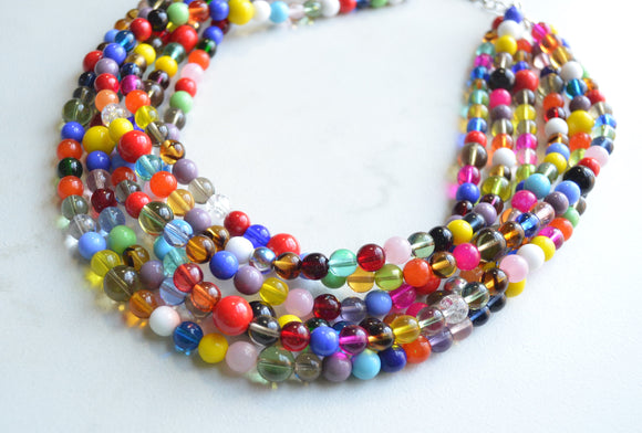 Multi Color Statement Necklace, Chunky Bead Necklace, Colorful Necklace - Confetti