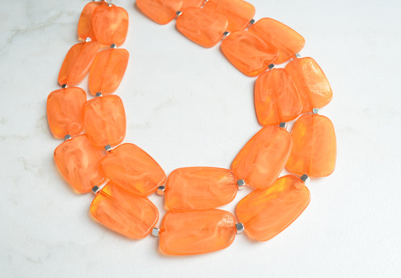 Orange Statement Necklace, Lucite Bead Necklace, Acrylic Chunky Necklace - Jane