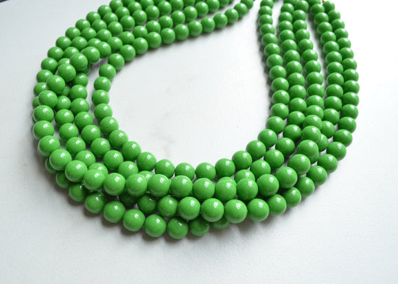 Green Statement Necklace, Beaded Chunky Necklace, Multi Strand Necklace - Alana