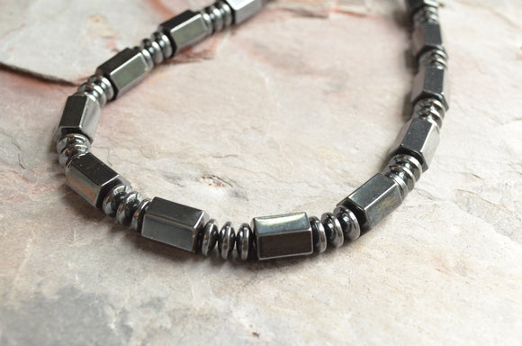 Hematite Mens Necklace, Bead Stone Necklace, Mens Jewelry, Gift For Guy