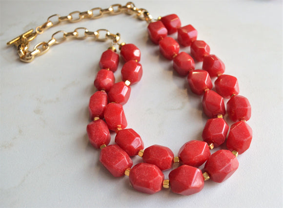 Red Statement Necklace, Long Bead Necklace, Chunky Jade Jewelry - Savannah