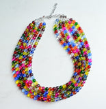 Multi Color Statement Necklace, Colorful Beaded Necklace, Glass Chunky Necklace - Michelle