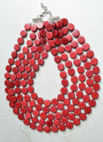 Garnet Statement Necklace, Wood Bead Necklace, Chunky Necklace - Charlotte