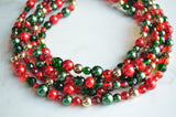 Red Green Statement Necklace, Christmas Necklace, Crystal Bead Necklace, Gift For Her