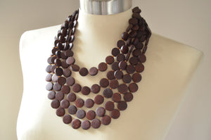 Brown Statement Necklace, Beaded Necklace, Chunky Wood Necklace, Multi Strand, Gift For Her - Charlott