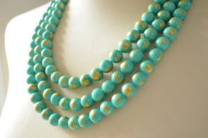 Turquoise Gold Statement Necklace, Chunky Bead Necklace, Stone Multi Strand Necklace - Jamie
