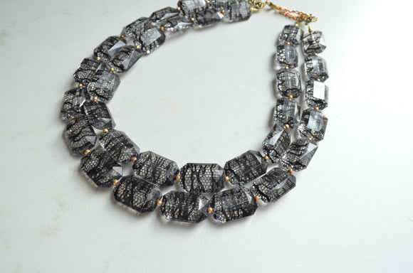 Black Clear Statement Necklace, Acrylic Necklace, Lucite Necklace, Gift For Woman - Jane