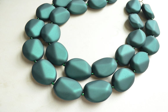 Dark Green Statement Necklace, Beaded Rubber Necklace, Matte Acrylic Necklace - Nikki