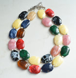 Multi Color Necklace, Statement Necklace, Acrylic Necklace, Lucite Necklace, Gift For Woman - Jane