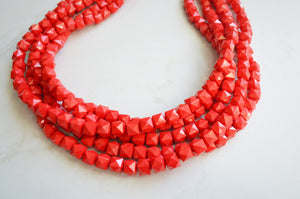 Red Statement Necklace, Acrylic Bead Necklace, Chunky Multi Strand Necklace - Lexi
