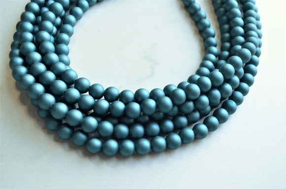Blue Statement Necklace, Rubber Beaded Necklace, Chunky Necklace, Gift For Her - Alana