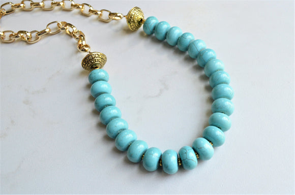 Turquoise Statement Necklace, Long Bead Necklace, Chunky Chain Necklace - Bambina