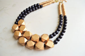 Black Gold Statement Necklace, Chunky Necklace, Wood Bead Necklace, Multi Strand Necklace, Gift For Woman - Riley