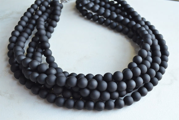 Black Statement Necklace, Rubber Beaded Necklace, Chunky Necklace - Alana