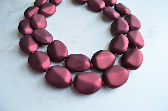 Red Statement Necklace, Rubber Bead Necklace, Matte Acrylic Necklace - Nikki