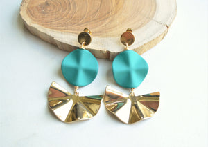 Teal Gold Statement Earrings, Big Lucite Earrings, Large Acrylic Earrings, Gift For Her - Farrah