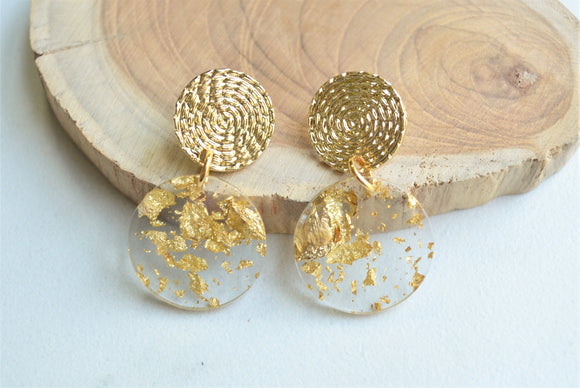 Gold Clear Acrylic Lucite Disc Big Dangle Statement Earrings