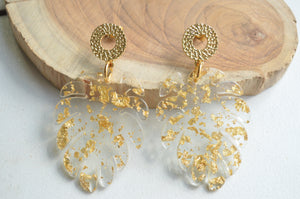 Gold Leaf Earrings, Statement Earrings, Lucite Big Earrings, Gift For Her - Tropicana