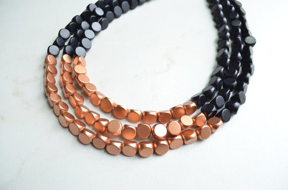 Black Copper Necklace, Beaded Statement Necklace, Wood Chunky Necklace, Gifts For Her - Lisa