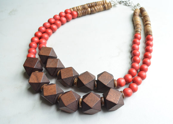 Red Brown Statement Necklace, Wood Bead Necklace, Chunky Necklace, Gift For Her - Riley
