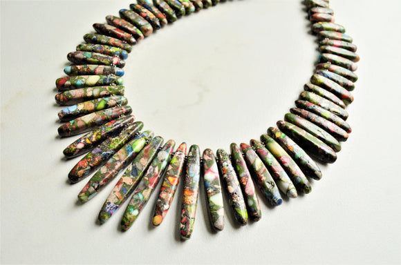 Multi Color Statement Necklace, Colorful Spike Necklace, Bead Chunky Necklace, Gift For Woman - Khaleesi