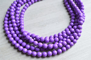 Purple Statement Necklace - Beaded Lucite Necklace - Chunky Necklace - Gifts For Women - Angelina