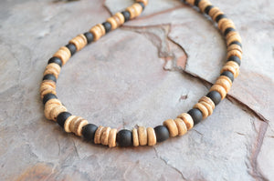 Black Mens Necklace, Wood Bead Necklace, Surfer Necklace, Gift For Him