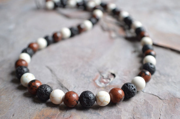 Mens Beaded Necklace Surfer Necklace Stone Necklace Man Necklace Gift For Men - Juan Piedra