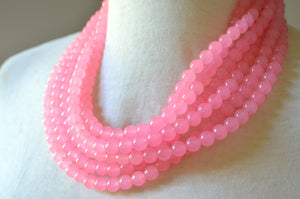 Pink Statement Necklace, Bead Necklace, Jade Necklace, Chunky Necklace, Multi Strand Necklace - Michelle