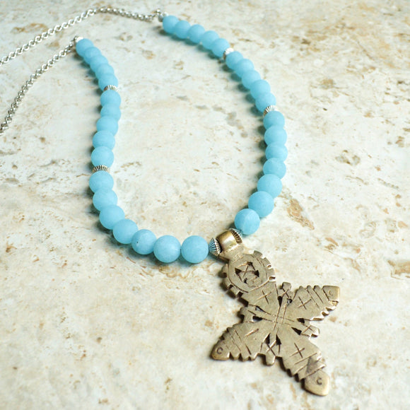 Blue Statement Necklace, Ethiopian Cross Necklace, Bead Necklace, Pendant Necklace, Stone Necklace, Gift For Her - Imi