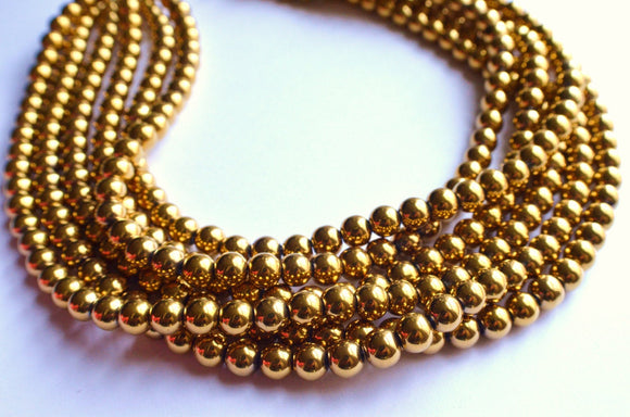 Gold Statement Necklace, Bead Necklace, Chunky Necklace, Glass Necklace, Gift For Her - Michelle