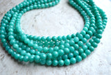 Teal Statement Necklace Green Necklace Jade Necklace Multi Strand Necklace Gift For Woman - Michelle