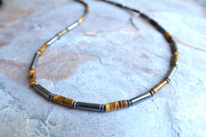 Mens Tigers Eye Necklace Hematite Beaded Necklace Gifts For Him - Wyatt