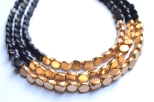Black Gold Statement Necklace Beaded Wood Necklace Gifts For Her- Lisa