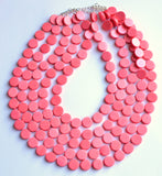 Pink Statement Necklace, Wood Beaded Necklace, Chunky Jewelry, Multi Strand, Gift For Her  - Charlotte