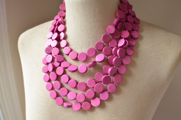 Pink Statement Necklace, Beaded Wood Necklace, Wooden Necklace, Chunky Necklace, Multi Strand, Gift for Her - Charlotte