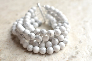 White Chunky Bracelet Beaded Stone Bracelet Bridesmaid Gifts - Michelle