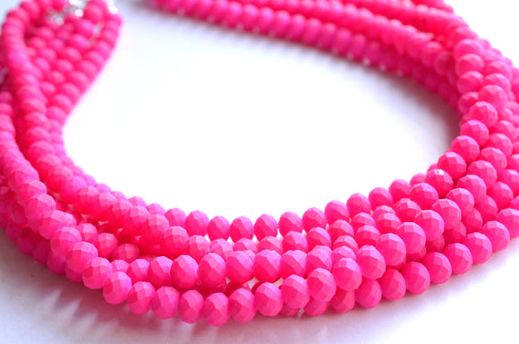 Pink Statement Necklace, Neon Necklace, Rubber Necklace. Bead Necklace, Chunky Necklace  - Aria