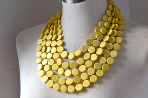 Yellow Statement Necklace Wood Beaded Necklace Multi Strand Chunky Necklace Gifts For Women - Charlotte