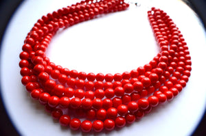 Red Statement Necklace Glass Beaded Necklace Chunky Multi Strand Necklace Gift For Her - Michelle