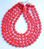 Red Statement Necklace Wood Beaded Necklace Chunky Multi Strand Necklace Gifts For Women - Charlotte