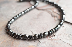 Mens Hematite Necklace Beaded Men Necklace Gray Mens Jewelry Gifts For Men - Ethan